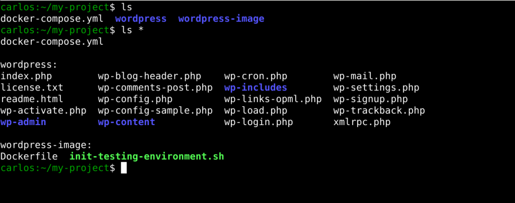 project folder structure with configuration of wordpress and docker