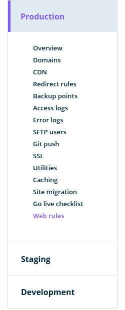 WPEngine site sidebar menu